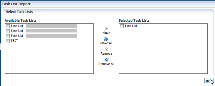 Selected Task Lists