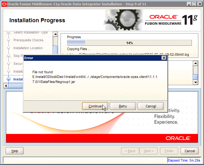 ODI Error: oracle.opss.client