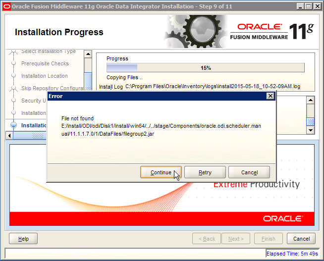 ODI Error: oracle.odi.scheduler.manual filegroup 2
