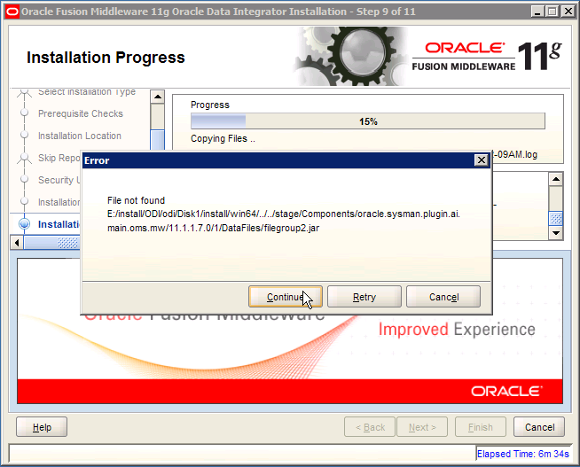 ODI Error: oracle.sysman.plugin.ai.main.oms.mw filegroup 2