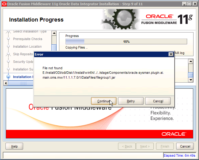 ODI Error: oracle.sysman.plugin.ai.main.oms.mw filegroup 1