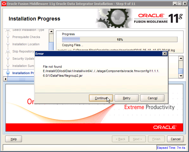 ODI Error: oracle.fmwconfig filegroup 2