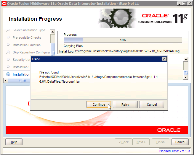 ODI Error: oracle.fmwconfig filegroup 1
