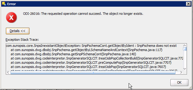 ODI-26016 SnpPschema does not exist