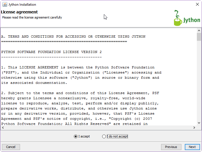 Jython License Agreement