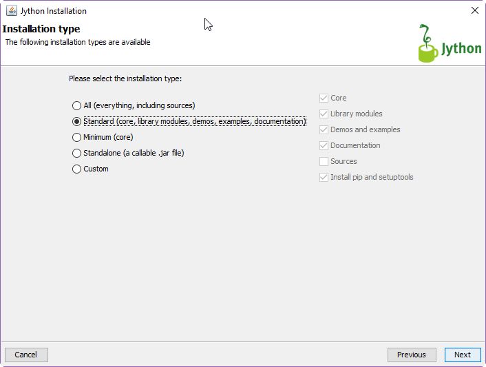 Jython Installation Type